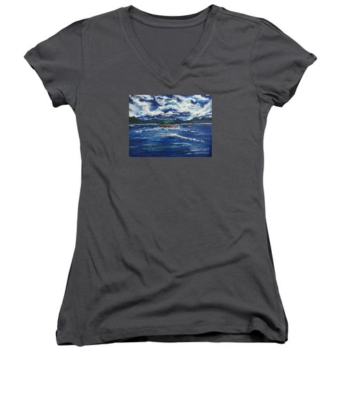 The Enchanting Sea  Women's V-Neck T-Shirt (Junior Cut) by Lori  Lovetere