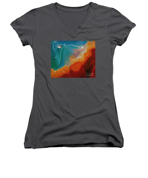 The Final Frontier Women's V-Neck T-Shirt (Junior Cut) by Barbara McMahon