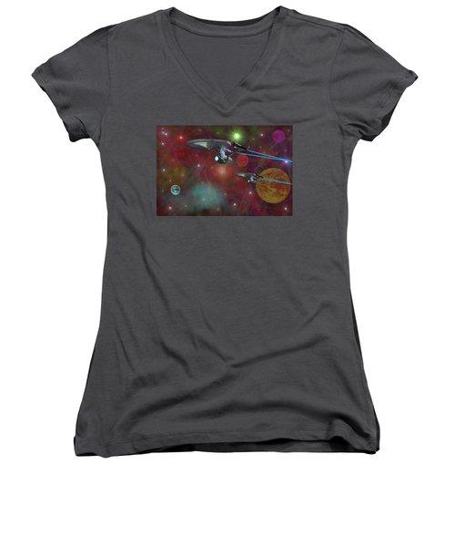 Women's V-Neck T-Shirt (Junior Cut) featuring the digital art The Final Frontier by Michael Rucker