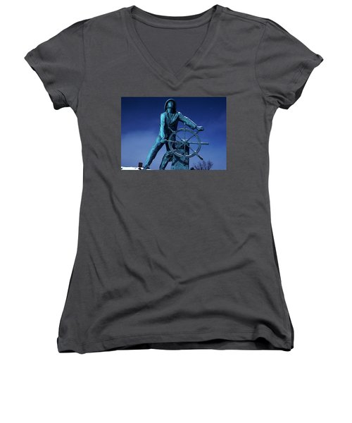 Women's V-Neck T-Shirt (Junior Cut) featuring the photograph The Fisherman Statue Gloucester by Tom Wurl