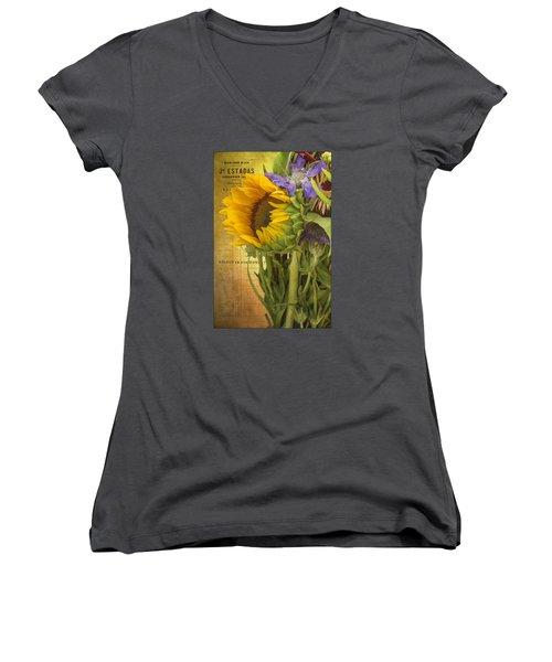 Women's V-Neck T-Shirt (Junior Cut) featuring the photograph The Flower Market by Priscilla Burgers