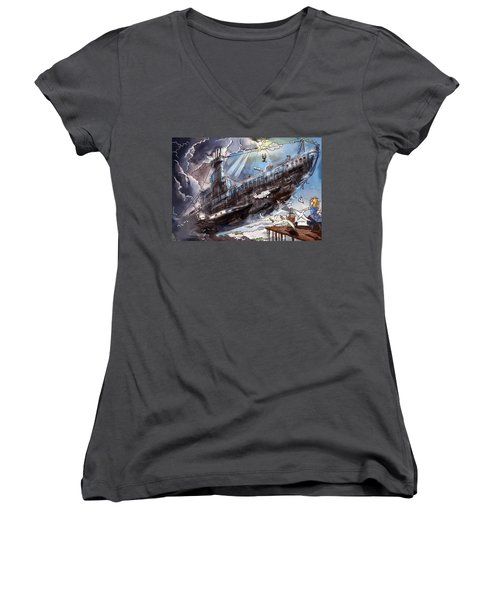 Women's V-Neck T-Shirt (Junior Cut) featuring the painting The Flying Submarine by Reynold Jay