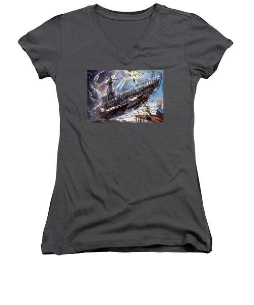 The Flying Submarine Women's V-Neck T-Shirt (Junior Cut) by Reynold Jay