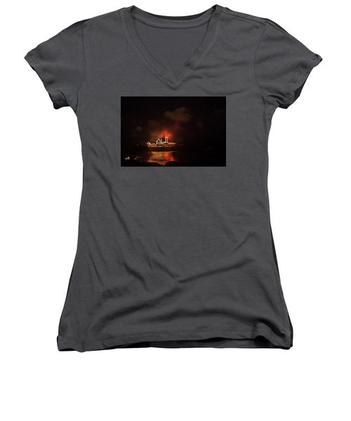 Women's V-Neck T-Shirt (Junior Cut) featuring the photograph The Fog Rolls In by Jeff Folger
