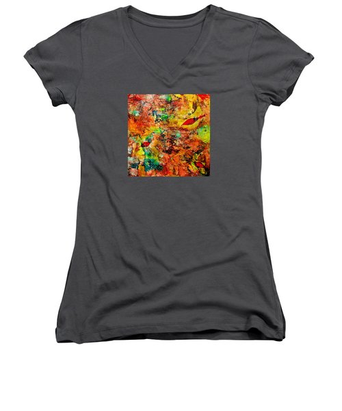 The Forest Floor Women's V-Neck T-Shirt (Junior Cut) by Carolyn Repka