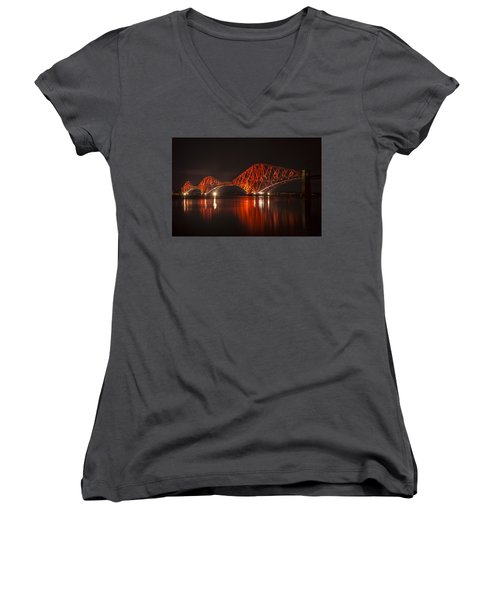 The Forth Bridge By Night Women's V-Neck