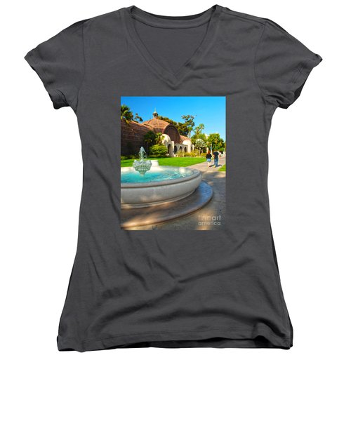 Botanical Building And Fountain At Balboa Park Women's V-Neck T-Shirt