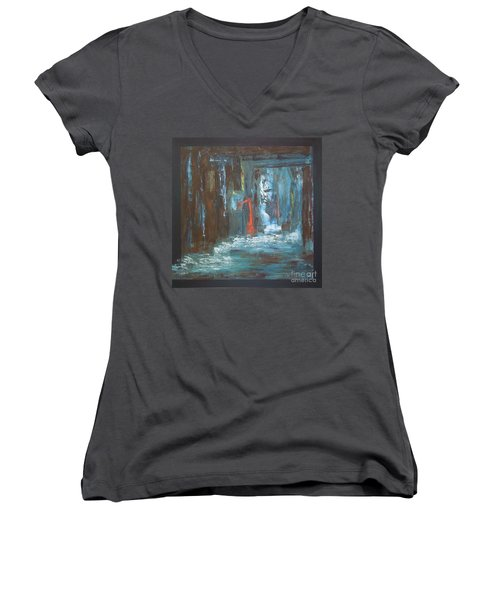 Women's V-Neck T-Shirt (Junior Cut) featuring the painting The Free Passage by Mini Arora