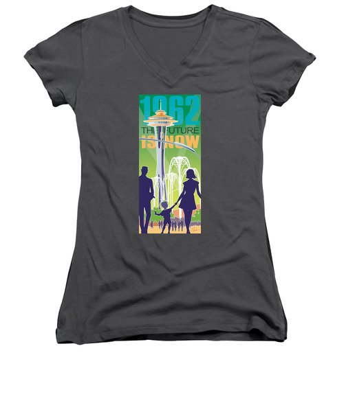 The Future Is Now - Green Women's V-Neck T-Shirt