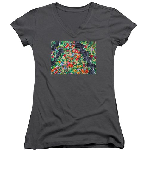 Women's V-Neck T-Shirt (Junior Cut) featuring the painting The Garden Path by Michele Myers