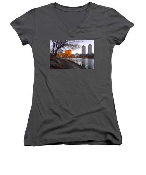 Women's V-Neck T-Shirt (Junior Cut) featuring the photograph The Gates - Central Park New York - Harlem Meer by Gary Heller