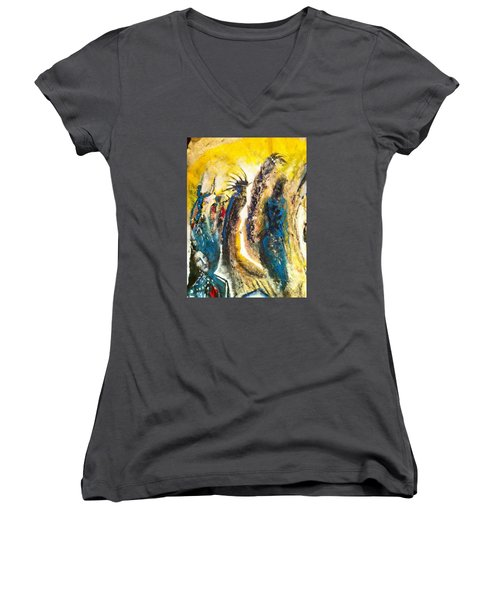 The Gathering Women's V-Neck T-Shirt (Junior Cut) by Kicking Bear  Productions