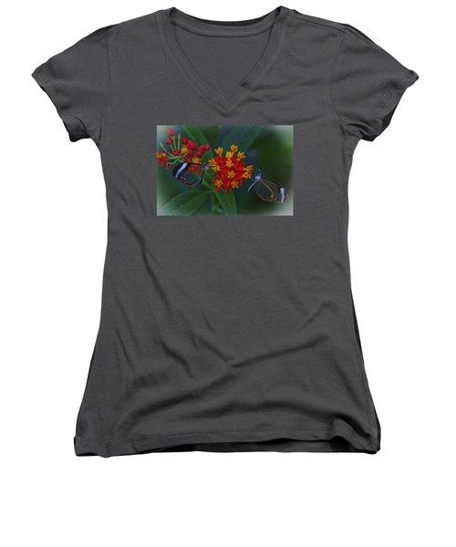 The Glasswinged Butterfly Women's V-Neck T-Shirt (Junior Cut) by Maj Seda