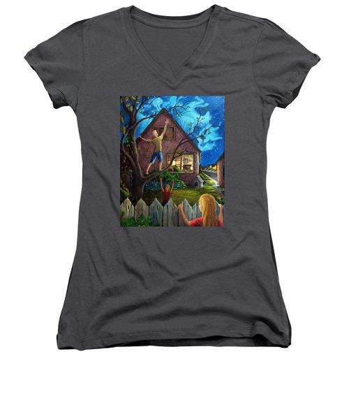 The Gleaners Women's V-Neck T-Shirt (Junior Cut) by Matt Konar