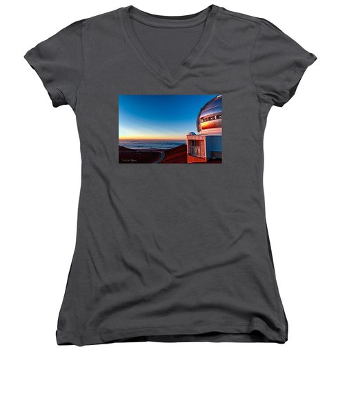 Women's V-Neck T-Shirt (Junior Cut) featuring the photograph The Glow Of The Warm Sunset Reflecting Off Of The Gemini 8.1m Op by Jim Thompson