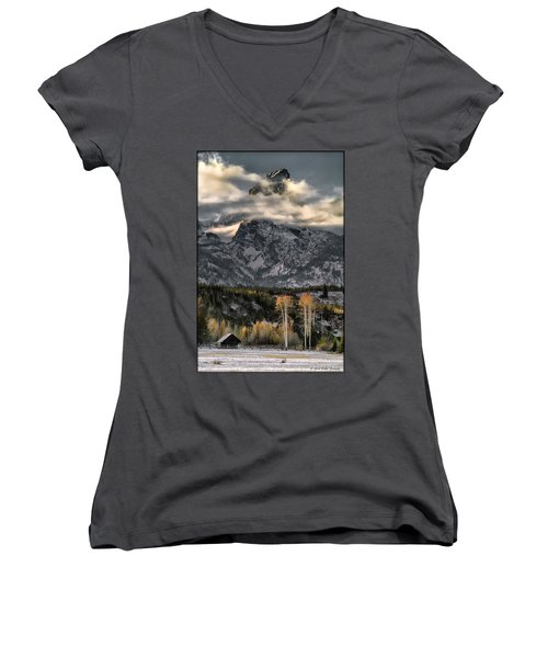 The Grand Teton Women's V-Neck T-Shirt (Junior Cut)