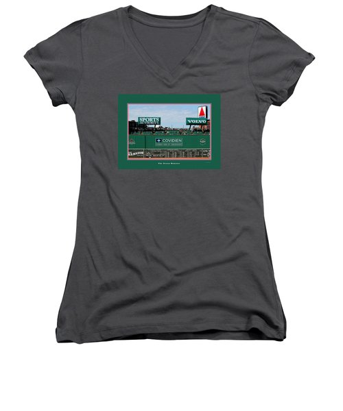 The Green Monster Fenway Park Women's V-Neck T-Shirt (Junior Cut) by Tom Prendergast