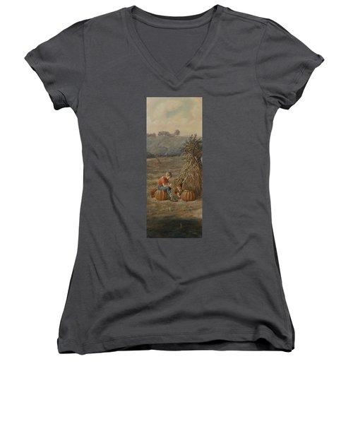 The Harvest Women's V-Neck T-Shirt (Junior Cut) by Duane R Probus