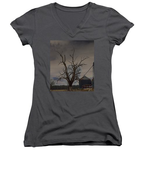 The Haunting Tree Women's V-Neck T-Shirt (Junior Cut) by Alys Caviness-Gober