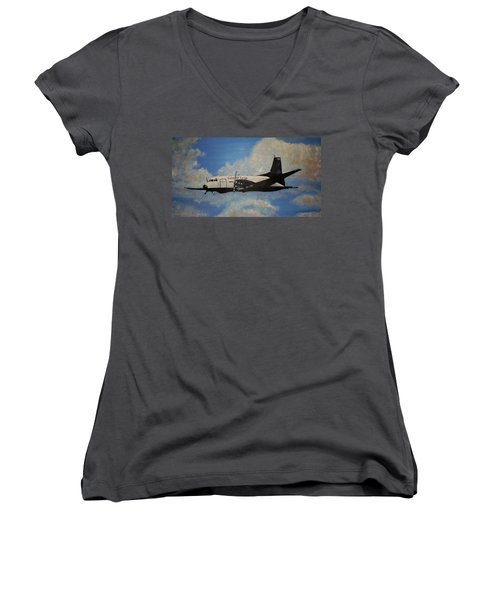 Women's V-Neck T-Shirt (Junior Cut) featuring the painting The Hawker by Marilyn  McNish