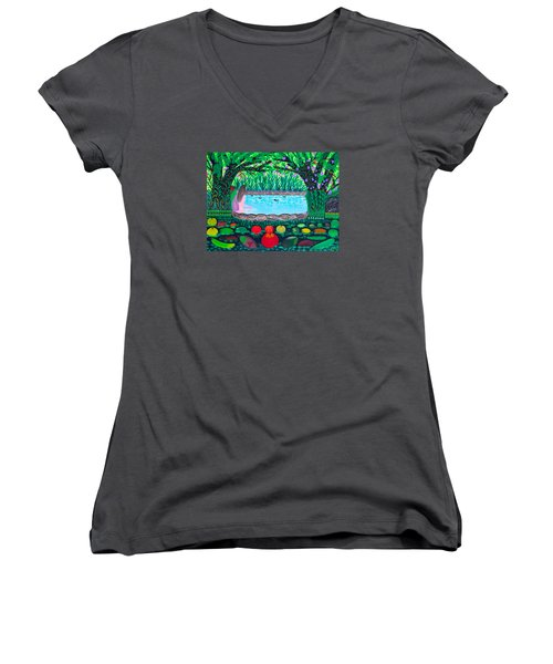 Women's V-Neck T-Shirt (Junior Cut) featuring the painting The Hidden Water by Lorna Maza