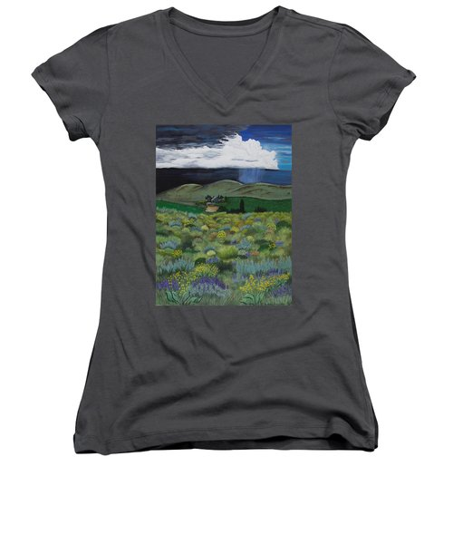 Women's V-Neck T-Shirt (Junior Cut) featuring the painting The High Desert Storm by Jennifer Lake