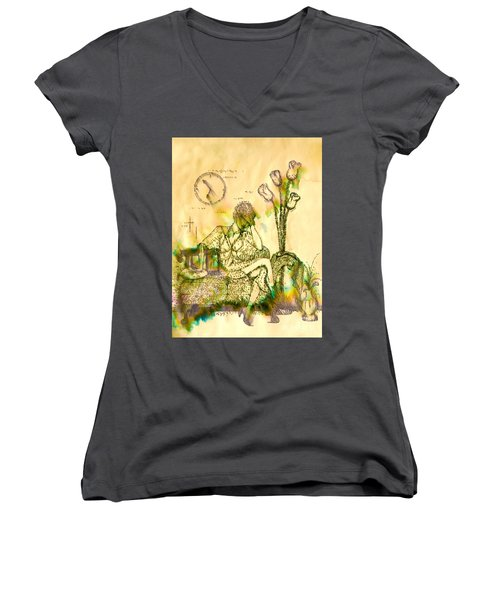 The Hold Up Sepia Tone Women's V-Neck (Athletic Fit)