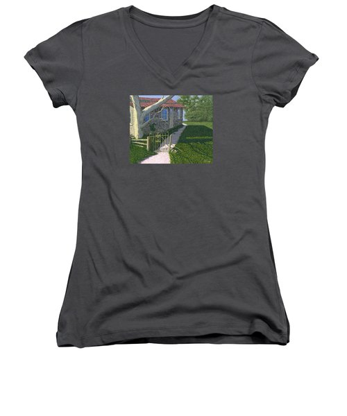 Women's V-Neck T-Shirt (Junior Cut) featuring the painting The Iron Gate by Gary Giacomelli