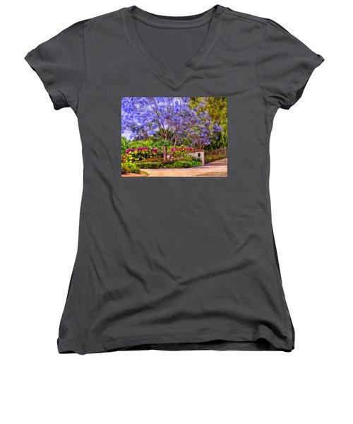 Women's V-Neck T-Shirt (Junior Cut) featuring the painting The Jacaranda by Michael Pickett