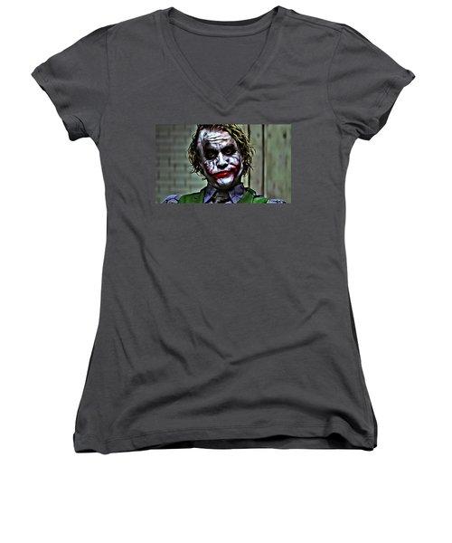 The Joker Women's V-Neck T-Shirt (Junior Cut) by Florian Rodarte