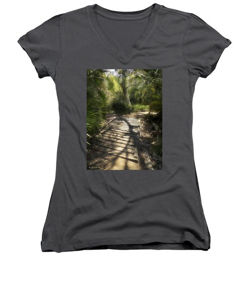 Women's V-Neck T-Shirt (Junior Cut) featuring the photograph The Journey Along The Path Comes With Light And Shadows by Lucinda Walter