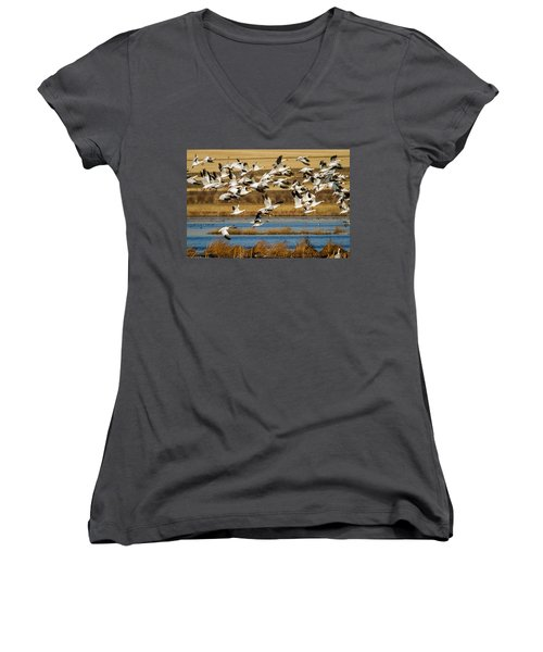 Women's V-Neck T-Shirt (Junior Cut) featuring the photograph The Journey by Jack Bell