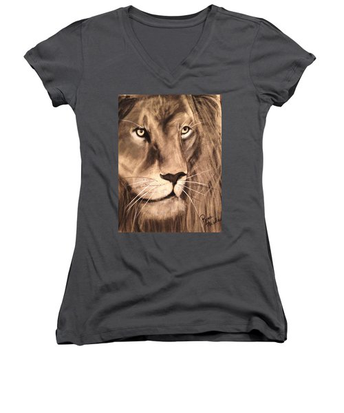 The King Women's V-Neck T-Shirt (Junior Cut) by Renee Michelle Wenker