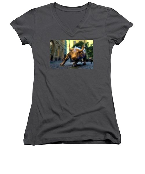 The Landmark Charging Bull In Lower Manhattan 2 Women's V-Neck (Athletic Fit)