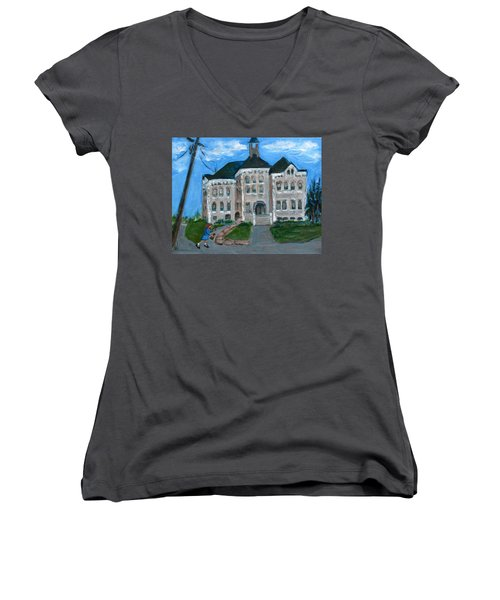 Women's V-Neck T-Shirt (Junior Cut) featuring the painting The Last Bell At West Hill School by Betty Pieper