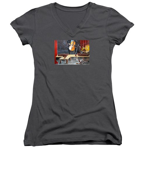 The Last Concert Listen With Music Of The Description Box Women's V-Neck T-Shirt (Junior Cut) by Lazaro Hurtado