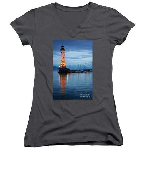 Women's V-Neck T-Shirt (Junior Cut) featuring the photograph The Lighthouse Of Lindau By Night by Nick  Biemans