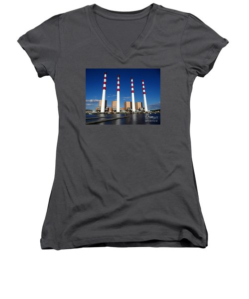 Women's V-Neck T-Shirt (Junior Cut) featuring the photograph The Lilco Towers by Ed Weidman