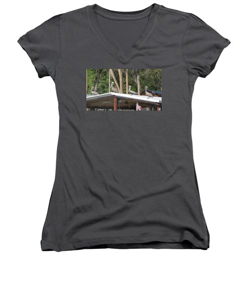 Women's V-Neck T-Shirt (Junior Cut) featuring the photograph The Lineup by Fortunate Findings Shirley Dickerson