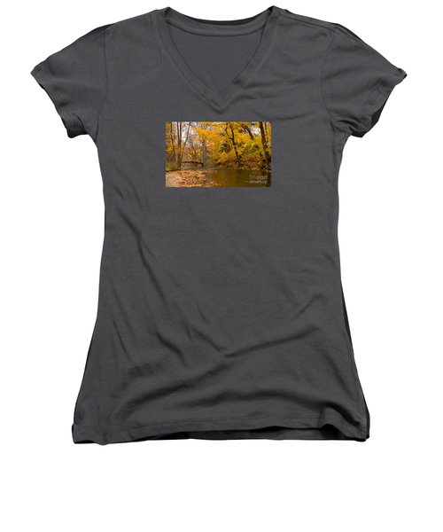 The Little Bridge Over Valley Creek Women's V-Neck T-Shirt