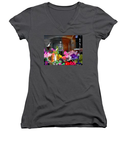 Women's V-Neck T-Shirt (Junior Cut) featuring the digital art The Long Collage by Cathy Anderson