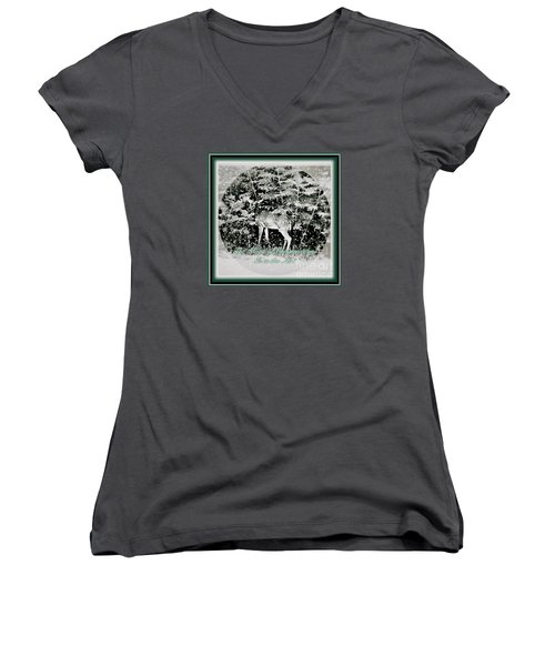 The Magic Of Christmastime In A Woodland Women's V-Neck T-Shirt (Junior Cut) by Kimberlee Baxter