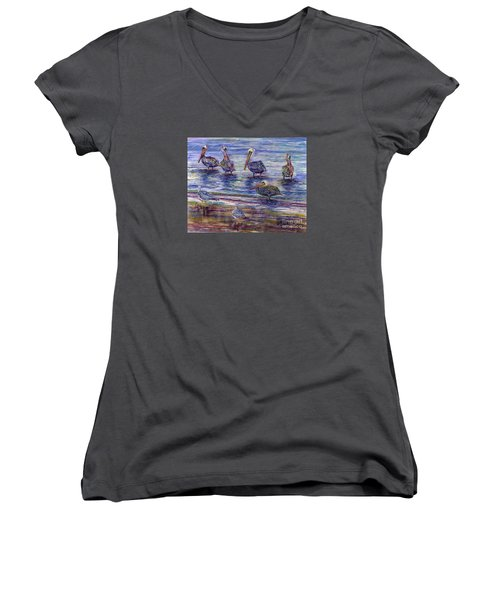 The Majestic Pelican Visit Women's V-Neck (Athletic Fit)