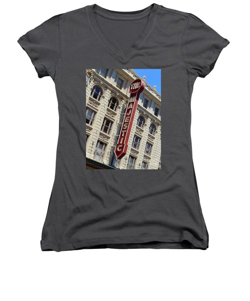 Women's V-Neck T-Shirt (Junior Cut) featuring the photograph The Majestic Theater Dallas #2 by Robert ONeil