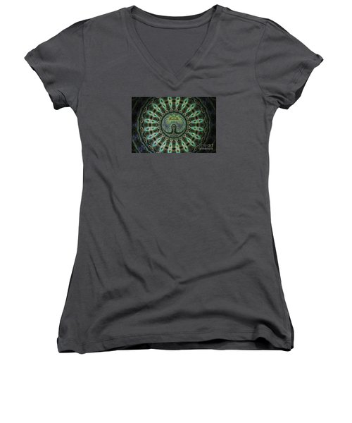 Women's V-Neck T-Shirt (Junior Cut) featuring the photograph The Mask by Donna Brown