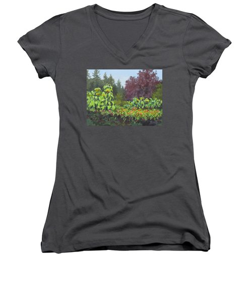 Women's V-Neck T-Shirt (Junior Cut) featuring the painting The Matriarchs by Karen Ilari