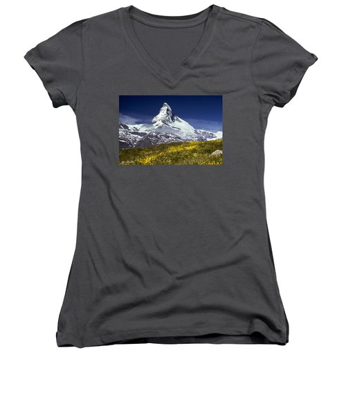 The Matterhorn With Alpine Meadow In Foreground Women's V-Neck (Athletic Fit)