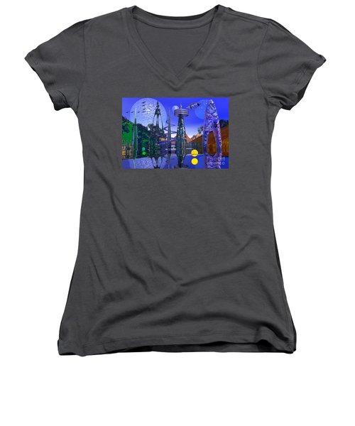 Women's V-Neck T-Shirt (Junior Cut) featuring the photograph The Mechanical Wonder by Mark Blauhoefer