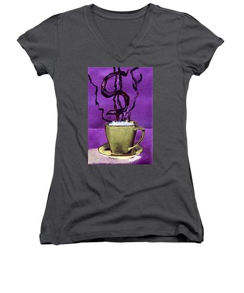 The Midas Cup Women's V-Neck T-Shirt (Junior Cut) by Paula Ayers