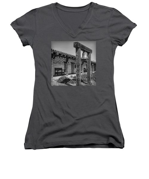 The Mission Bell B/w Women's V-Neck T-Shirt (Junior Cut) by Hanny Heim
